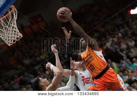 VALENCIA, SPAIN - JUNE 7th: Sato with ball during 3rd playoff match between Valencia Basket and Real Madrid at Fonteta Stadium on June 7, 2016 in Valencia, Spain