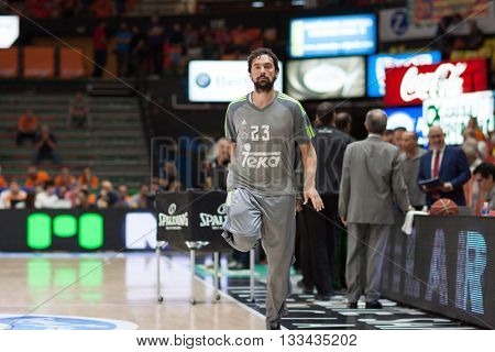 VALENCIA, SPAIN - JUNE 7th: Sergio Llull during 3rd playoff match between Valencia Basket and Real Madrid at Fonteta Stadium on June 7, 2016 in Valencia, Spain