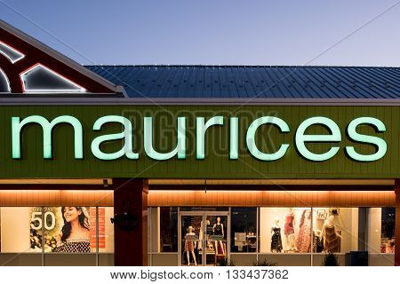 Oshkosh WI - 5 June 2016: Maurices store sign illuminated at night