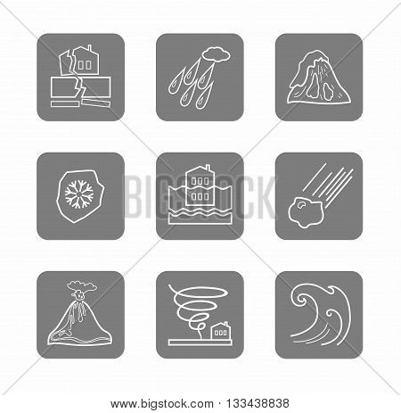 Vector linear icons of natural disasters and cataclysms. White image on a gray background. Flat style.