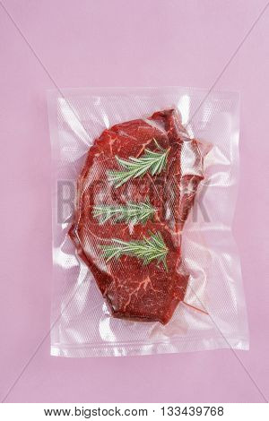 Roast beef sealed in an airtight plastic bag ready for sous vide cooking