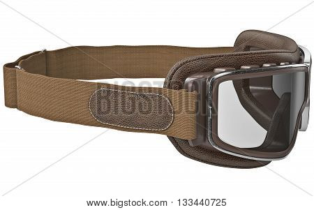 Safety goggles in retro style with leather strap. 3D graphic