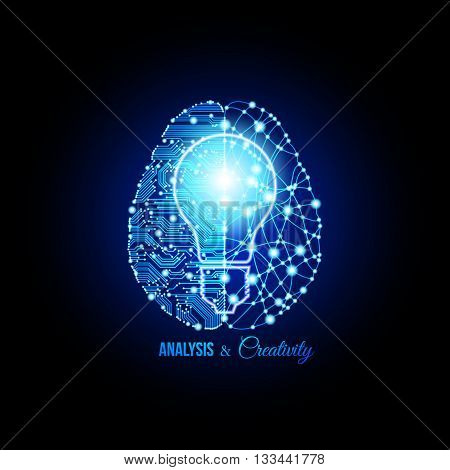 Cold analysis and bursting creativity paired together in brain and thinking concept of idea born. Human brain. Analytical brain. Creative brain. Human thinking. Analytical thinking Creative thinking