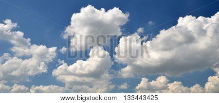 White clouds background summer wallpaper, deep blue summer sky