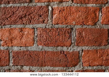 Old grunge brick wall background. Red and gray color