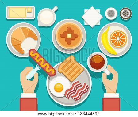 Breakfast vector concept with fresh food and drinks top view. Composition breakfast bacon and fresh snack, breakfast food set illustration