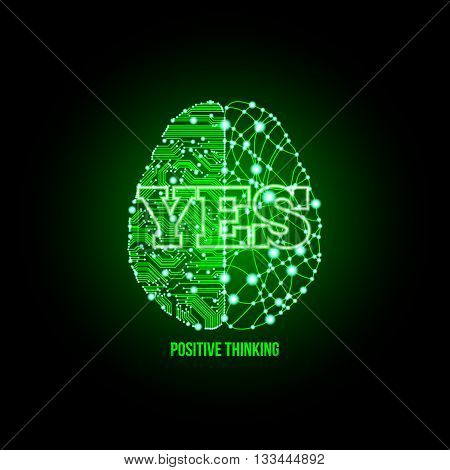 Cold analysis and bursting creativity paired together in positive approval green light concept. Human brain. Analytical brain. Creative brain. Human thinking. Analytical thinking Creative thinking.