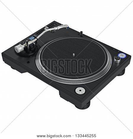 Dj turntable mixer equipment with chrome elements. 3D graphic