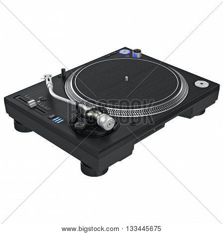 Turntable dj vinyl mixer equipment with chrome elements. 3D graphic
