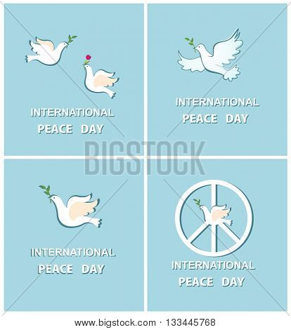 Set of greeting cards with doves for International Peace day