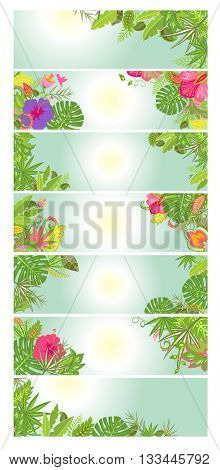 Summery floral banners with tropical flowers