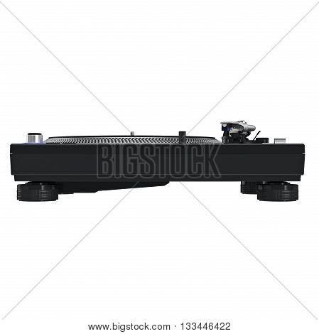 Black panel dj vinyl black player, front view. 3D graphic