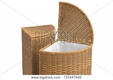 Empty wicker baskets decorative on white background. 3D graphic