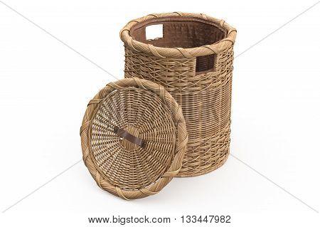 Empty wicker basket decorative on white background. 3D graphic
