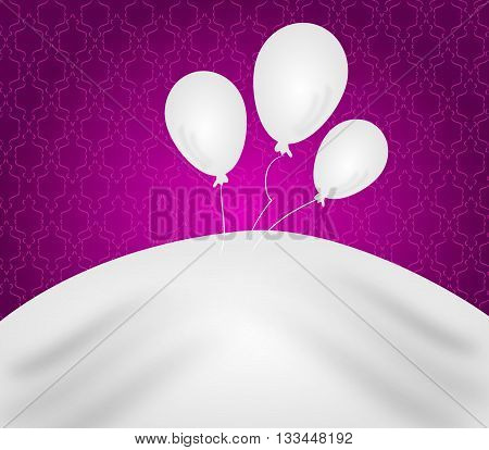 Anniversary pink background with white balloons illustration