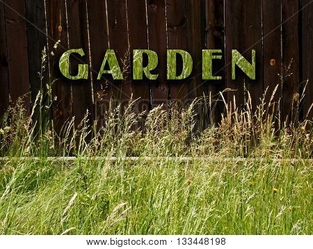 Photo manipulation of grass with wood with text garden