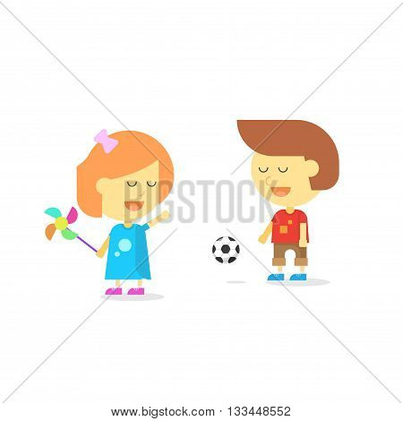 Happy kids playing isolated on white vector illustration, smiling cartoon children character boy and child girl playing