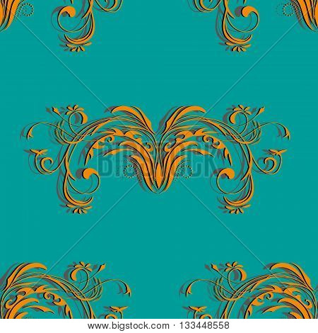 Orange seamless vintage pattern with floral elements abstract ornament on the background color of a sea wave, vector illustration