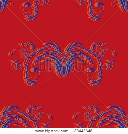 Vintage purple seamless pattern with abstract elements floral ornament on red background, vector illustration