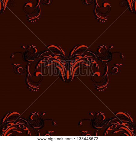 Vintage seamless red and black pattern with elements of an abstract floral ornament on Burgundy background, vector illustration