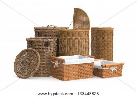 Set empty basket on white background. 3D graphic