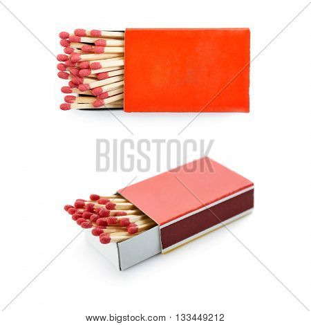 Set of Pile of Wooden unused matches in box isolated over the white background