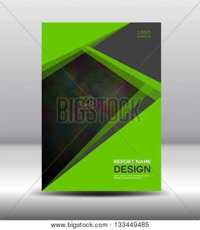 Green Cover Annual report template posterleaflet polygon background