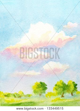 hand painted watercolor vertical landscape with sky with clouds trees and abstract green grass
