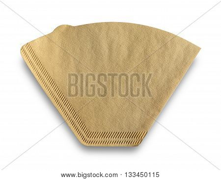 Cone-type coffee filter made of unbleached paper with clipping path