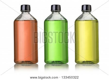the Three large glass bottles with medications.