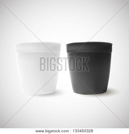 Simple White And Black Bucket Isolated On White Backdrop.