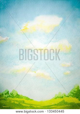 watercolor illustration with abstract sky clouds and green grass