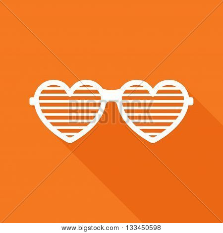 Shutter glasses. Concept of brindled or latticed sunglasses, fashionable accessory, summer youth glasses. Shutter shades sun glasses on orange background with shadow