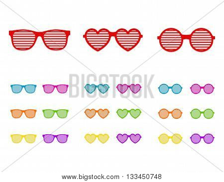 Set shutter glasses. Concept of brindled or latticed sunglasses, fashionable accessory, summer youth glasses. Shutter shades sun glasses collection isolated on white background