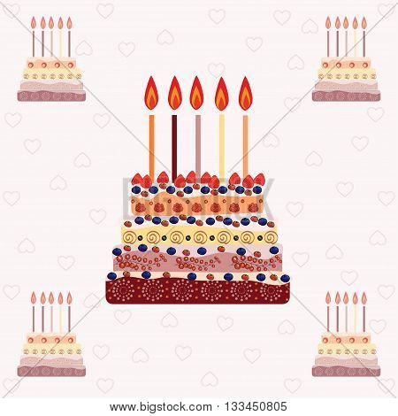 Birthday cake with five candles. Five years. A cake with candles for his birthday. Holidays and celebrations