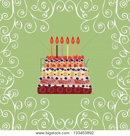 Birthday cake with six candles. Six years. A cake with candles for his birthday. Holidays and celebrations