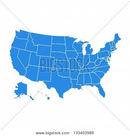 High detail USA map for each country. United States of America map in flat style. Blue america usa federal states map isolated on white background