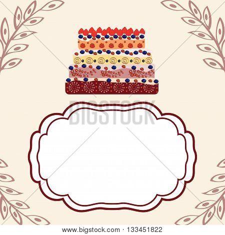 Birthday greetings invitation template. Anniversary cake. Holidays and celebrations