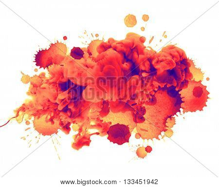 Acrylic colors in water and watercolor blots. Abstract background.