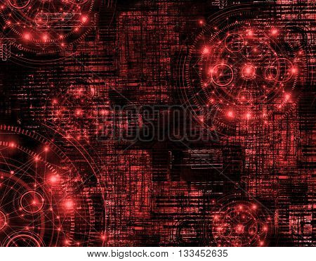 Best Internet Concept of global business.Technological red background. Rays symbols Wi-Fi, of the Internet, television, mobile and satellite communications