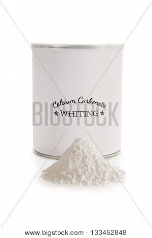Calcium carbonate whiting is a flux used in pottery glazes to improve durability and hardness. CaCO3. Label made for the photo shoot no copyright infringement issues.