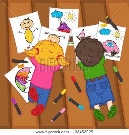 children draw on the floor  - vector illustration, eps