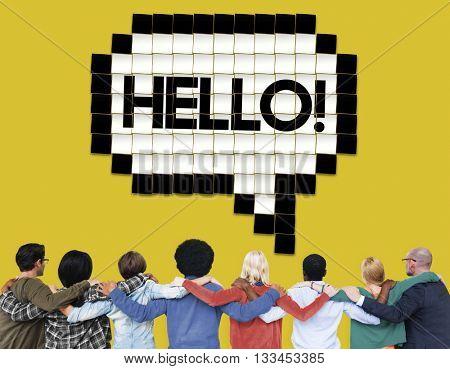 Hello Speech Bubble Technology Graphic Concept