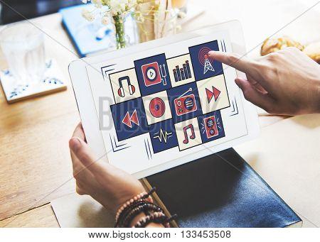 Multimedia Application Gadget Entertainment Concept