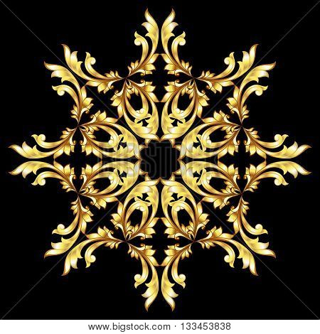 Golden pattern with a flower on the black background