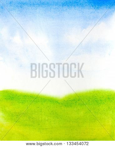 watercolor landscape with abstract sky clouds and green grass