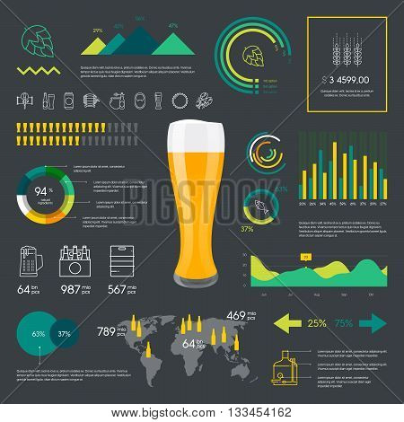 Premium quality thin line color beer infographic on dark background. Modern web graphics linear drink icons set.