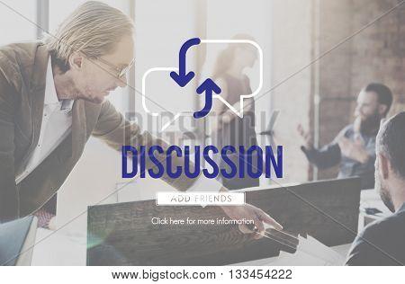 Business Team Discussion Plan Achievement Development Procedures Concept
