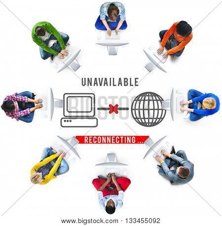 Unavailable Denied Disconnected Error Problem Concept