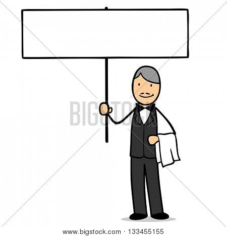 Cartoon waiter holding up an empty white sign